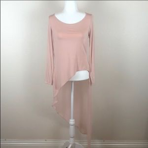 Long sleeve T w/ long sheer drape in back NWT